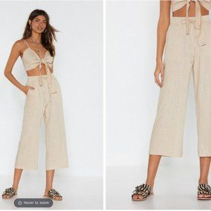 NEW Linen Crop Wide-Leg Flowy Pants